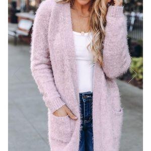 Lavender eyelash knit cardigan S M & L